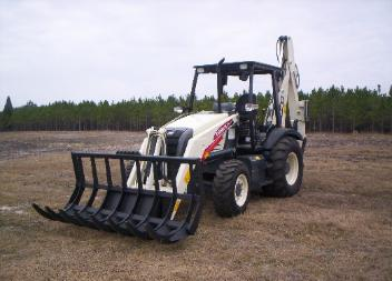 heavy duty terex loader backhoe root rake